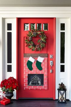 Christmas Fireplace Door Decor