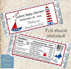 Hershey Candy Bars, Hershey Bar, Baby Shower Candy, Baby Boy Shower, Sailor Baby Showers, Sailor Theme, Shower Sizes, Custom Candy, Candy Bar Wrappers
