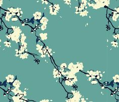 Cherry Blossoms in Aqua fabric by zoecharlotte on Spoonflower - custom fabric