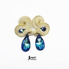 Unique soutache earrings- beige, gold and bermuda blue, boucles d'oreilles soutache,orecchini soutache
