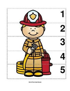 Help preschool students practice their numbers and sequence skills with this fun firefighter math picture puzzle. Students count by print on cardstock laminate and cut into strips. Community Helpers Preschool, Preschool Lessons, Preschool Worksheets, Preschool Crafts, Pre K Activities, Preschool Activities, Fire Safety Crafts, Firefighter Crafts, Preschool Pictures