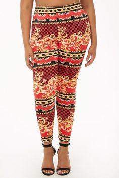 239cf571e2 Plus Size Checkered Baroque Print Leggings