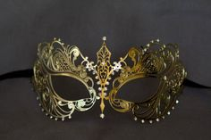 Gold masquerade mask. masquerade lace metal by Stefanelbeadwork