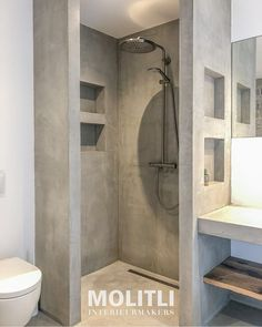 Bathroom Design Luxury, Modern Bathroom Design, Downstairs Bathroom, Small Bathroom, Bathroom Layout Plans, Ideas Baños, Concrete Interiors, Cabin Bathrooms, Concrete Bathroom