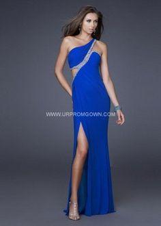 Electric Blue Long La Femme 16379 Asymmetrical Evening Dress