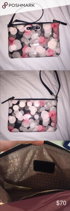 Kate Spade Wristlet PERFECT CONDITION Kate Spade wristlet, never been used. Glossy and smooth on the outside with black, pink, and white polka dots. Spacious on the inside with compartments to hold credit cards and money, also a thin black handle to hold on wrist. Price negotiable. kate spade Bags Clutches & Wristlets
