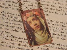Saint Jewelry Saint Necklace Saint Rose of Lima  mixed media jewelry