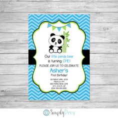 Panda Birthday Invitation Printable - This is a digital file that I customize for you and email you for printing. Please read all information in the listing as most questions can be answered.  ♥Birthday Coordinates: https://www.etsy.com/shop/SimplyDovie/search?search_query=panda&order=date_desc&view_type=list&ref=shop_search  Details: • Card size is 5x7 (Total card size is 7.25x5.25 including bleed area) • File will be emailed to you as...