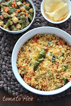 Tomato Rice Recipe, made Indian style. If you have cooked leftover rice, this on. Tomato Rice Recipe, made Indian style. If you have cooked leftover rice, this one pot meal takes only 15 minutes! Veg Recipes, Indian Food Recipes, Vegetarian Recipes, Cooking Recipes, Healthy Recipes, Easy Cooking, Pasta Recipes, Tomato Rice, Indian Cookbook