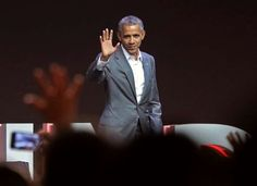 President Barack Obama waves at the audience after delivering his speech during the Fourth Congress of the Indonesian Diasporas in Jakarta, Indonesia.