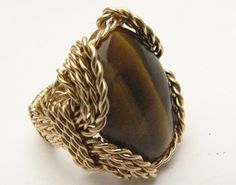 Handmade 14kt Gold Filled Wire Wrap Tiger Eye Agate by JandSGems