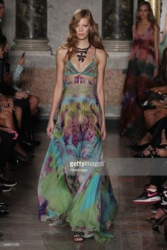 A model walks the runway at the Emilio Pucci show as a part of Milan Fashion Week Womenswear Spring/Summer 2015 on September 20, 2014 in Milan, Italy.