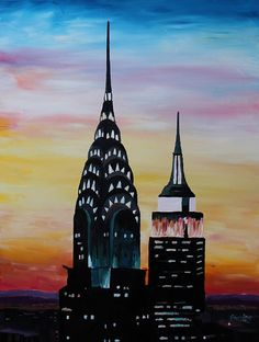 New York City Chrysler Empire State Building I Painting
