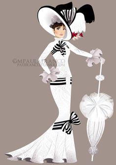 Audrey Hepburn, Ascot dress by paufranco.deviantart.com.... ive fallen in love with this guy