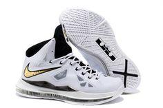 bacb82a6f5997 Nike Basketball Lebron 10 Shoes White Black Gold Medal Shoe Sale