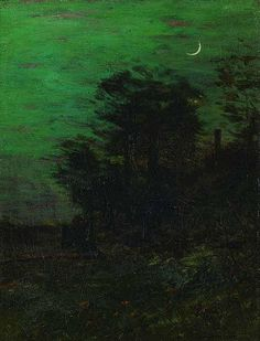 """Moonlit Landscape,"" Charles Warren Eaton, oil on canvas, 16 x 12 1/4""; private collection."
