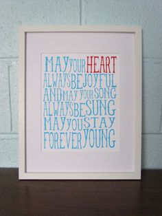 Forever Young Printaqua & red by LittleLightPrints on Etsy, $15.00