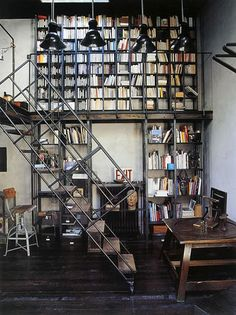 home-library-industrial-style - Panda's House Industrial Interiors, Industrial Chic, Industrial Design, Industrial Shelving, Industrial Industry, Industrial Stairs, Metal Shelves, Industrial Office, Industrial House