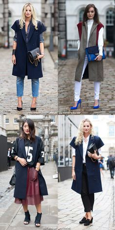 Inspiration: Sleeveless Coats - Blue is in Fashion this Year