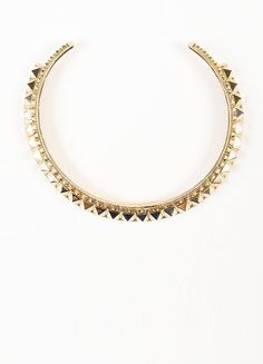 "Gold Toned Valentino Metal Pyramid ""Rockstud"" Collar Necklace"