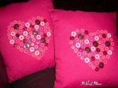 DIY Valentine Pillows.  Cute with a Shamrock for St Patty's too!