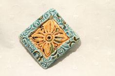 Ceramic Jewelry Burnt Orange and Turquoise Ceramic by kimjustice, $15.00