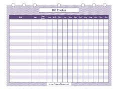 Squiggly purple lines decorate this printable bill tracker that helps people plan finances for all 12 months throughout the year. Free to download and print