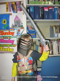 Little Homeschool on the Prairie: Medieval Knight Helmet Craft