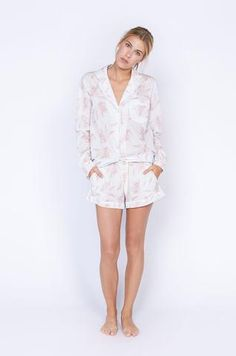 luxury pjs pajama set women cotton nightwear white pink print