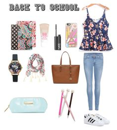 """""""Back to scool !!"""" by milafashion-35 ❤ liked on Polyvore featuring Casetify, 7 For All Mankind, adidas, Vera Bradley, MICHAEL Michael Kors, Aéropostale, Olivia Burton, Maybelline, NARS Cosmetics and Steve Madden"""