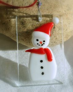 Snowman hand made decoration in fused glass by GeckoGlassDesign