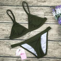 8DESS Sexy Army Green Bikini Swimsuit Swimwear