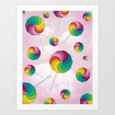Lollipop Rain Art Print by Noonday Design | Society6