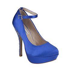 something blue! POSESION BLUE SATIN women's evening high ankle strap - Steve Madden