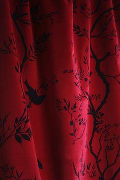 Timorous Beasties Fabric - Birdbranch Stripe Velvet fabric