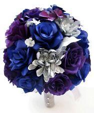 17 piece Wedding Bouquet Silk Flower Bridal ROYAL BLUE PURPLE PLUM SILVER set