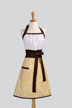 Cute Kitsch Apron . Modern Design With Swiss Chocolate Swirl Skirt and Polka Dot Trimmed in Chocolate