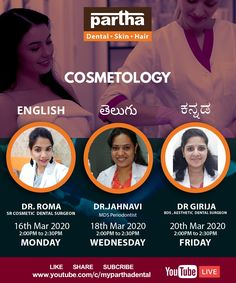 Partha Dental Upcoming Youtube Calendar on Skin and Hair Do Join us at our Youtube Channel. #ParthaDentalYoutubeLive #SkinCare #ParthaCosmetology #ParthaSkinSpecialist #SkinAndHairClinic Skin And Hair Clinic, Dental Surgeon, Dental Cosmetics, Youtube Live, Cosmetology, Calendar, Skincare, Channel, Join