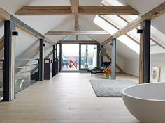 Wellness 03 - Conversion / renovation of a Jugendstildenkmals Freiburg - Dekoration Trends Site Attic Apartment, Attic Rooms, Contemporary Kitchen Renovation, Houses In Germany, Roof Extension, Attic Loft, Attic Conversion, Shed Homes, Beautiful Living Rooms