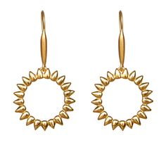 Sun - Gold Plated Silver Earrings  #hook #earrings #silver #gift