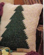 Tree pillow pattern chart - modify the chart to make just the tree part of the pillow?  Living room sofa pillows?