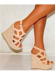f8e0346032a Cool Show Elegant Bowtie Peep Toe Wedge Heel Sandals