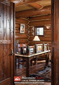 Handcrafted Log Home Office by PrecisionCraft Log Homes & Timber Frame, via Flickr