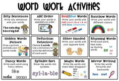 Word-Work-Activities-FREEBIE-1181883 Teaching Resources - TeachersPayTeachers.com