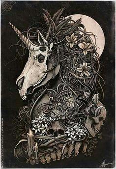 Unicorn skull by Christopher Lovell so intense! Art And Illustration, Unicorn Tattoos, Ouvrages D'art, Art Graphique, Skull Art, Mythical Creatures, Dark Art, Printable Art, Amazing Art