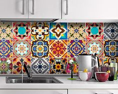 Talavera - Tile Decals - Tile Stickers - Talavera Traditional Tiles - Tiles for Kitchen - Kitchen Backsplash - Home - Carrelage Adhésif - PACK OF 48 To view more Art that will look gorgeous on Your Walls Visit our Store: Tile Stickers Kitchen, Kitchen Wall Tiles, Kitchen Backsplash, Diy Kitchen, Backsplash Ideas, Kitchen Interior, Spanish Kitchen Decor, Colourful Kitchen Tiles, Patterned Kitchen Tiles
