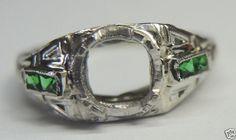 Antique Diamond Engagement Ring Setting Mounting Hold-6mm 18K SZ 5.75 UK-L Mount