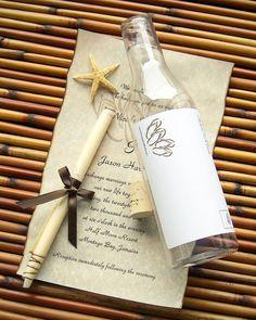 Message In A Bottle Destination Wedding Invitations - Beachcomber