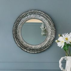 Silver Feather Mirror - Small | Mirrors | Graham and Green