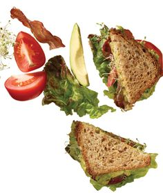 BLT With Avocado and Sprouts.  Ingredients:  6 slices turkey bacon  1 Hass avocado  1 teaspoon fresh lemon juice  1⁄8 teaspoon kosher salt  8 slices multigrain bread  8 leaves red-leaf lettuce  2 medium tomatoes, thickly sliced  1 packed cup alfalfa sprouts